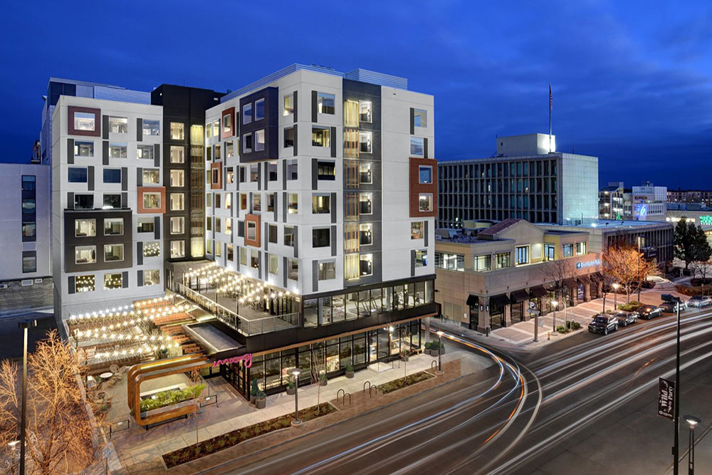 MV Consulting Marcus Vahling Denver Colorado Electrical Engineers Engineering Firm Architecture Construction Metro Mixed Use Dairy Block Cherry Creek LoDo Moxy Denver Cherry Creek Boutique Luxury Hotel Logo Exterior